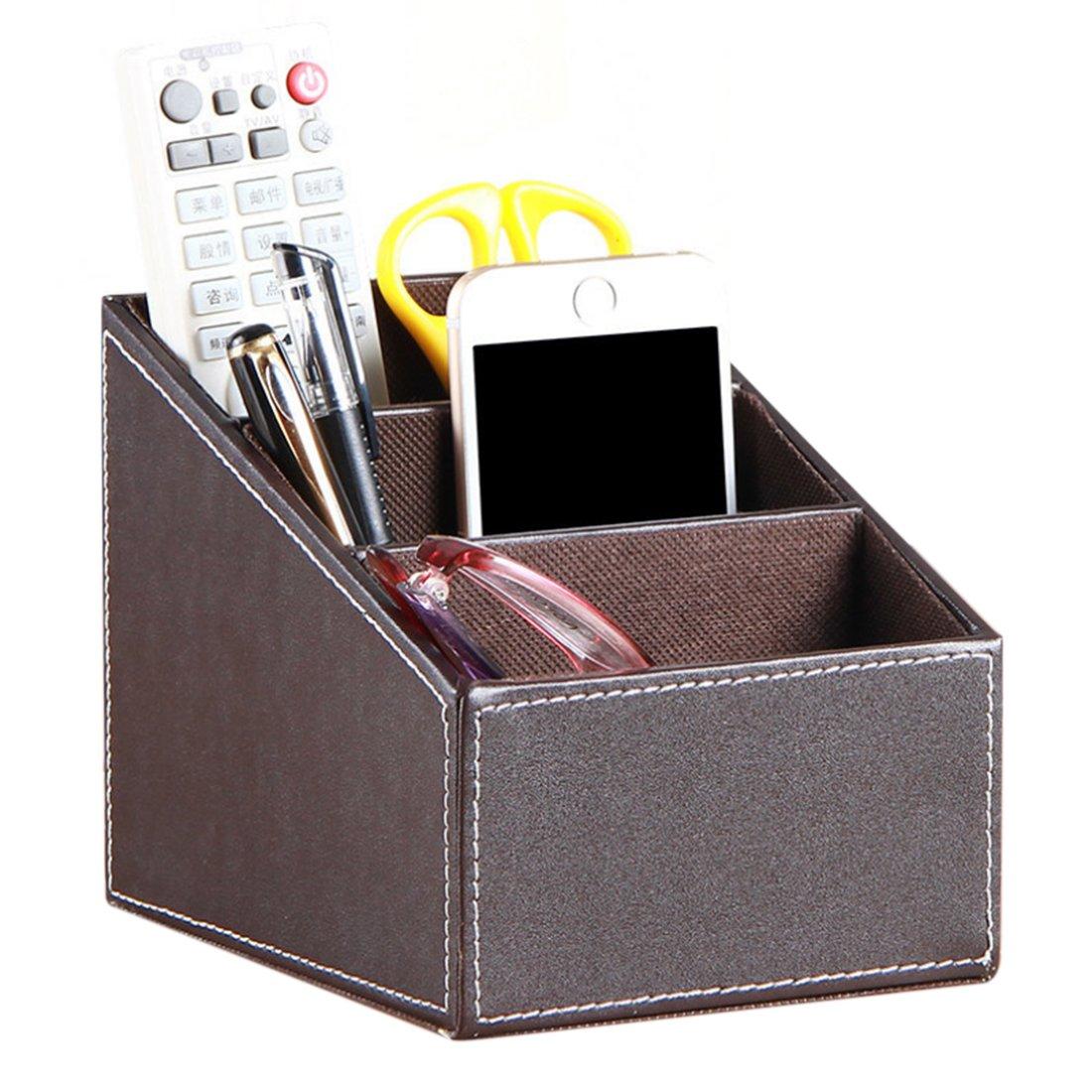 marron Porte-T/él/écommande Hipsteen faux cuir T/él/écommande Bo/îte De Rangement Organisateur de support de CD Remote Control Holder