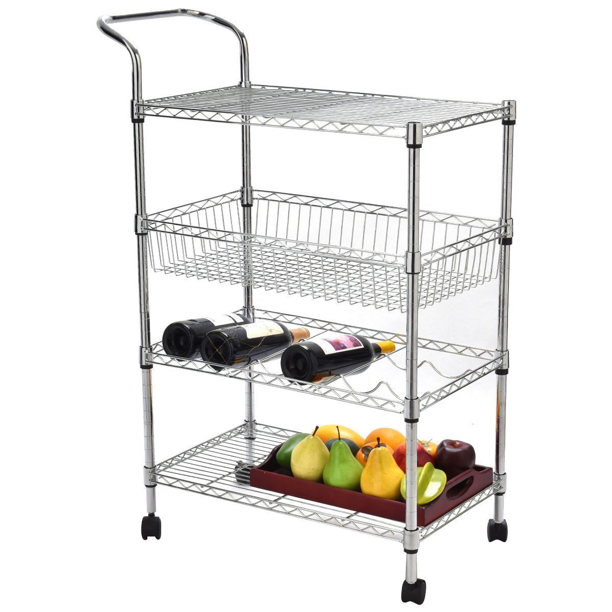 lunanice 4 -Tier Steel Rolling Kitchen Trolley Cart Island Wire Rack Basket Shelf Stand Shelf Height Is Adjustable