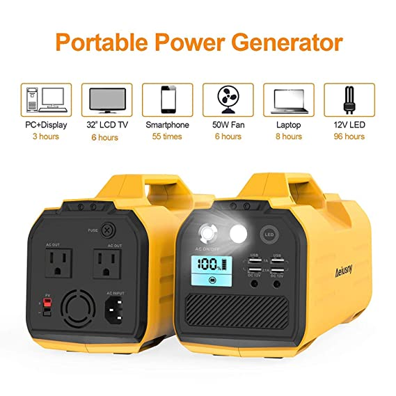 Amazon.com : Generator Portable Upgraded, Aeiusny 296Wh UPS Generator Solar Rechargeable, Backup Battery with 110V AC Outlet, 12V Car, USB Output Off-Grid ...