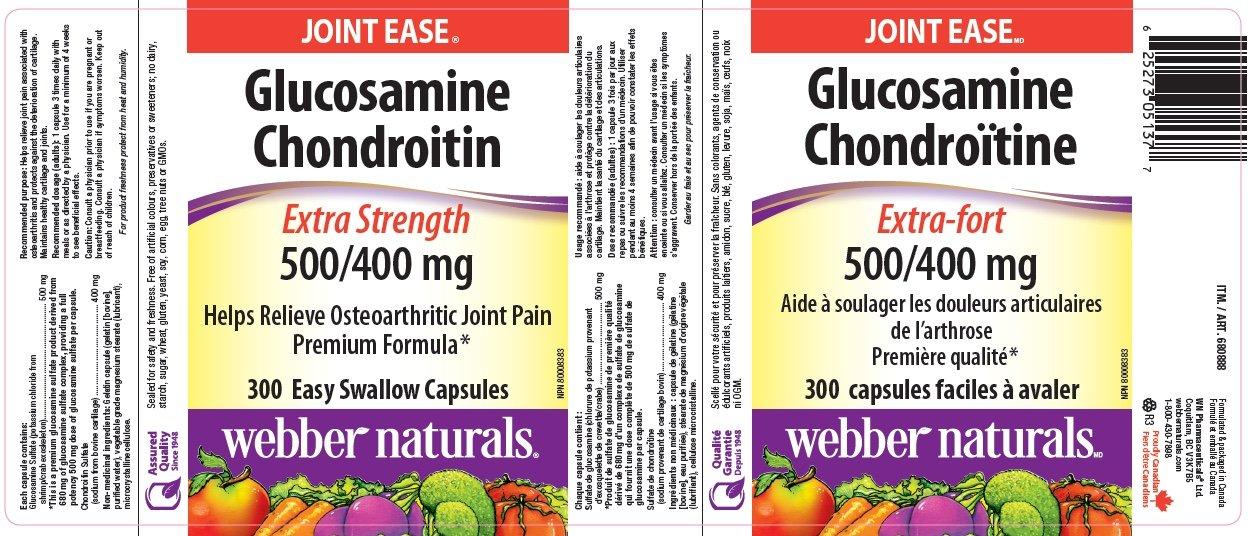 Webber Glucosamine Chondroitin 500 mg/400 mg 300 easy swallow capsules by Webber Naturals