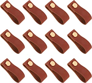 prasku 12Pcs/Set DIY Handmade Leather Cabinet Handle Pulls, Vintage Brown with Elegant Gold Head, Durable Knobs Furniture Hardware Pull, Replace for Suitcase Kitchen Bathroom Wardrobe Home Decoration