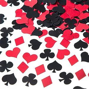 MOWO Casino Confetti Table Decoration and Las Vegas Theme Party Decoration (Black,red,200pc)