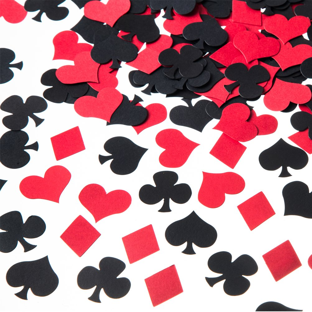 MOWO Casino Confetti Table Decoration and Las Vegas Theme Party Decoration  (Black,red,200pc)