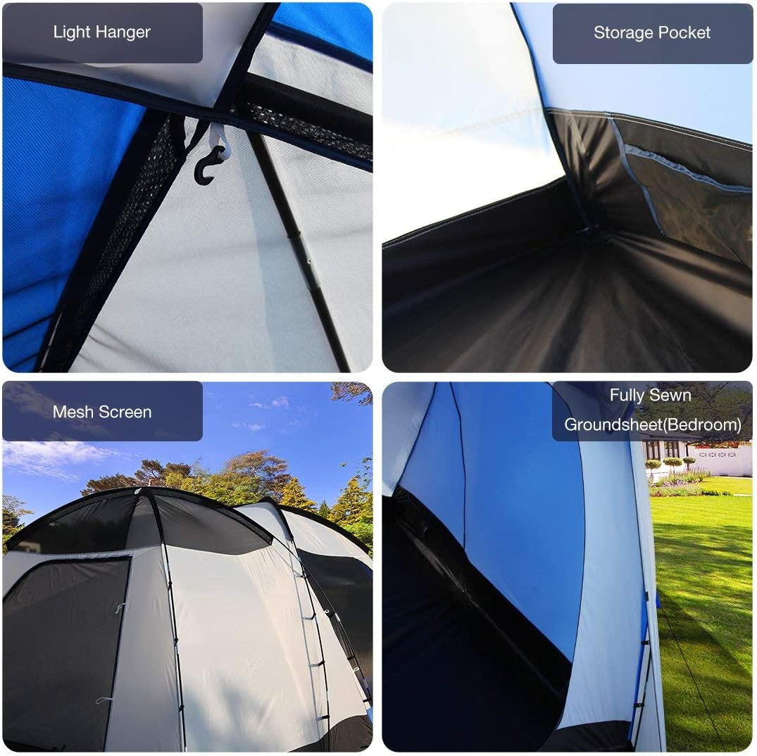 Blue Peaktop 6 Person Camping Tent 2 Rooms 3000mm Waterproof Large Family Hiking Beach Outdoor Dome Tent with Screen /& Full Coverage Rainfly 4.8x3.1x2.05M LWH