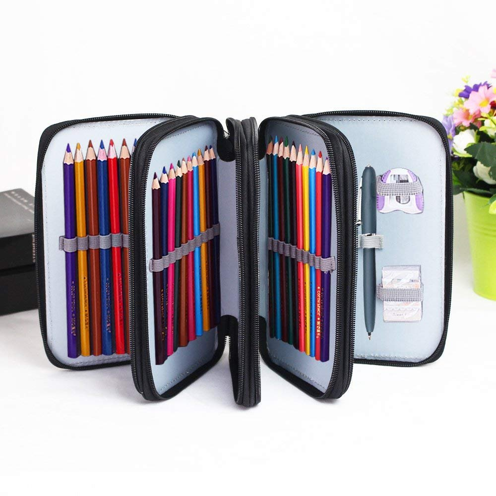 Pencil Case Handy Wareable Oxford Colored Pencil Pouch Professional 4 Layers and 4 Zippers 72 Inserting Super Large Capacity Multi-Layer for Students Pen Bag Pouch Stationery Case (Black)