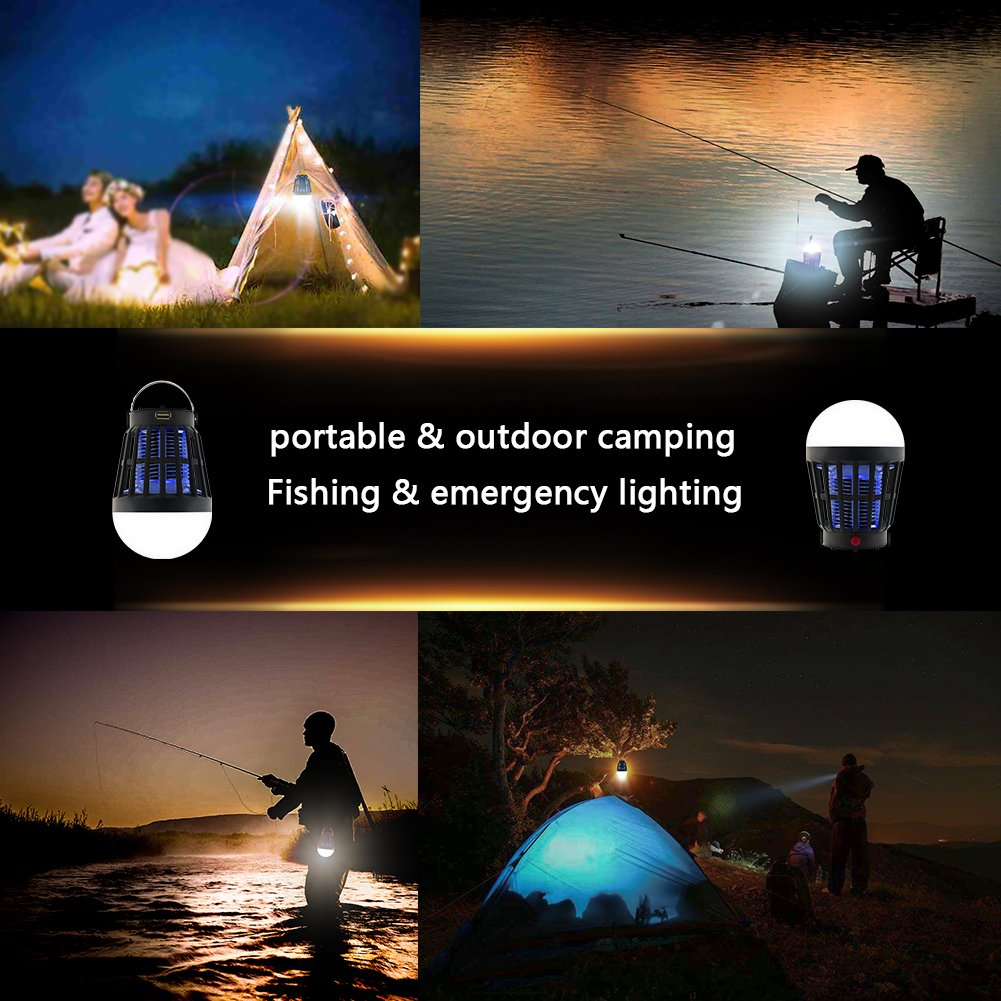 Mosquito Zapper, SNAP-DIRECT Solar Powered & USB Charging Fly Zapper Non Toxic 2-in-1 LED Light Bulb & Mosquito Trap Insect Killer Repellent Fly Pest Control Indoor Outdoor