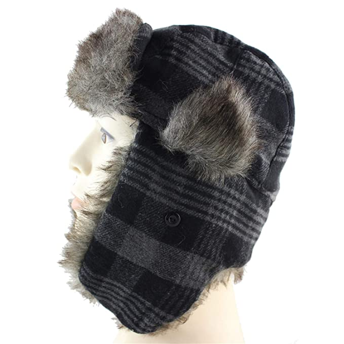 a67f4d5384c DOSOMI Men Bomber Hats Winter Trapper Hat Russian Hat with Faux Fur Outdoor  Sports Skiing Warm