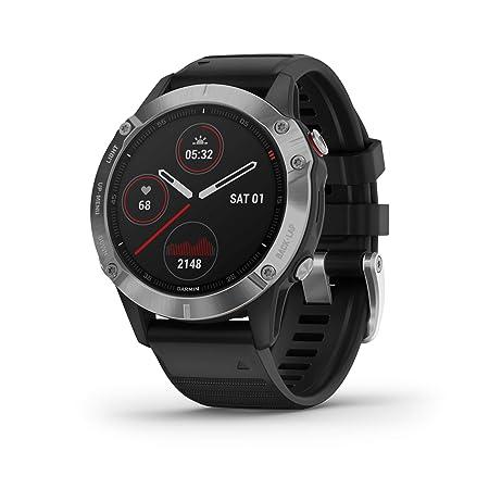 Garmin Fenix 6, reloj GPS multideporte definitivo, calor y altitud ajustados V02 Max, sensores de pulso y foco de carga de entrenamiento, plateado ...