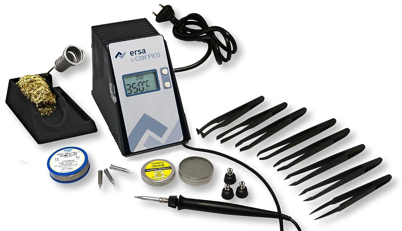 ERSA i-CON pico digitale elektronische Lötstation 80W inkl. 1m Lötdraht regelbar 150 – 450 °C + Zubehör Bräunlich GmbH *0IC1300-LD