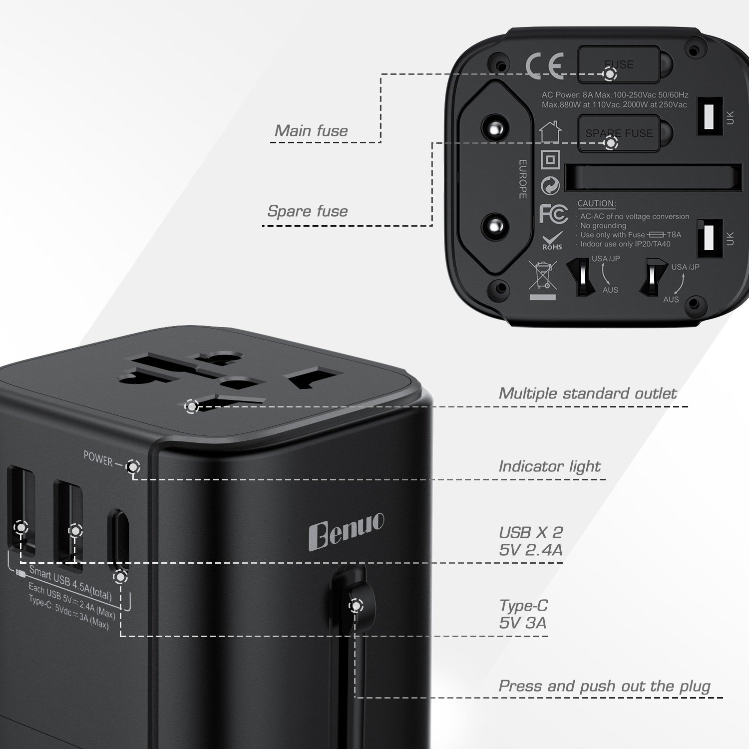 Amazon.com: Benuo Universal Travel Adapter, All-in-one Worldwide AC ...