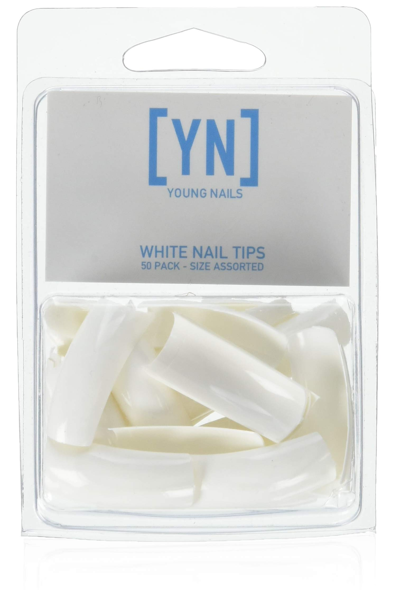 YOUNG NAILS 50 Piece Assorted Clear Nail Tips, White, 18 g. by Young Nails