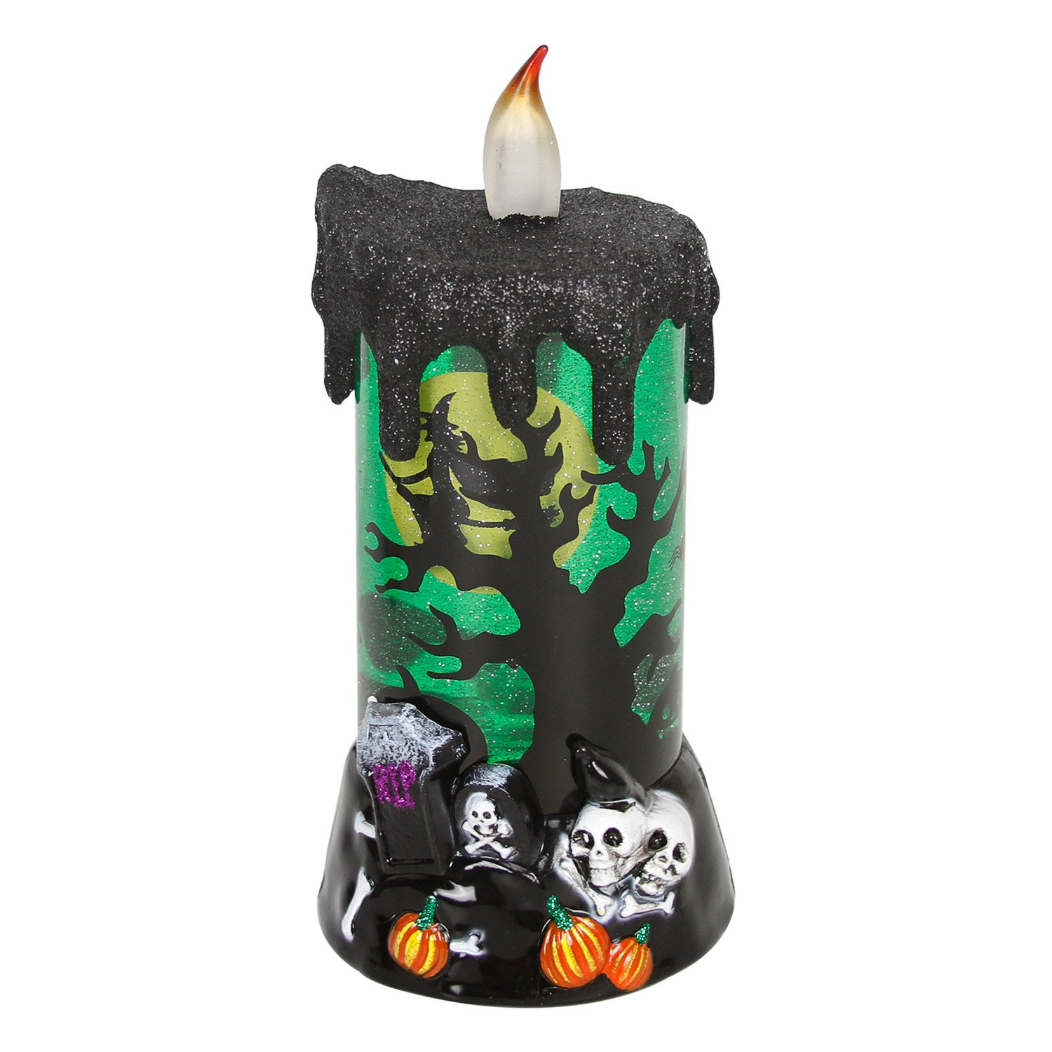 Evelyne Melting Glowing Snow Globe Candle with Flameless LEDハロウィンパーティーお祝いのデコレーションライト グリーン GMT-10318-A B07545B5LY Witch