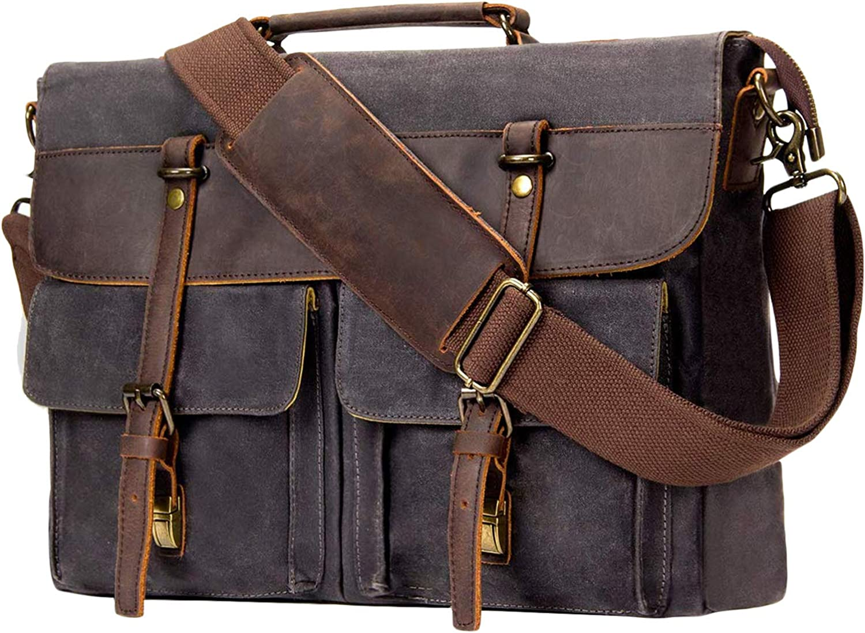 emissary Laptop Messenger Bag (15.6'' Laptop Bag) Canvas and Leather Shoulder Briefcase 15.6'' Satchel and Computer Bag