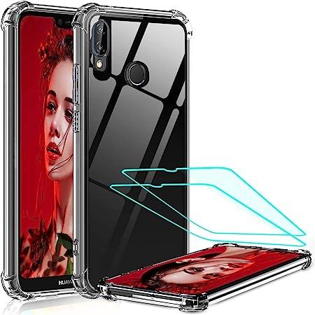 LeYi per Cover Huawei P20 Lite Custodia con Vetro Temperato [2 Pack], Nuovo Silicone Trasparente Hard PC Bumper TPU Smartphone Telefono Case per ...