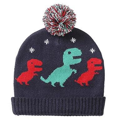 Aediea Enfants Mignons Garçons Filles Dessin Animé Dinosaure Imprimé Chaud  Chapeau Pompon Enfants Bonnet Tricoté (