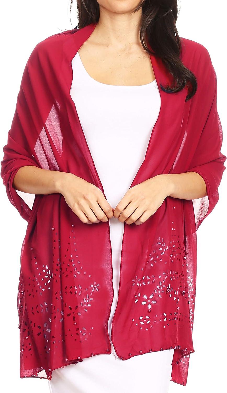 Sakkas Naomi mujer suave pura adornado de gasa nupcial de la boda bufanda mantón del abrigo