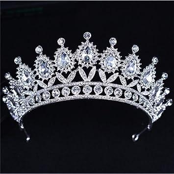 Amazon.com   FUMUD Wedding Bridal Crystal Tiaras Crowns Princess Queen  Pageant Prom Rhinestone Veil Tiara Headband Wedding Hair Accessories    Beauty 39d28c7b34d