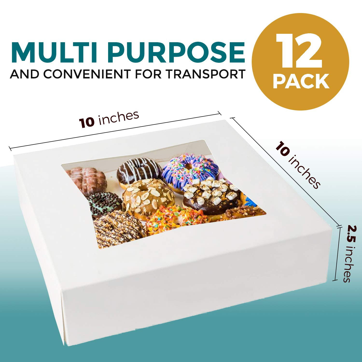 Cookies and Pastry White Cardboard Gift Packaging for Cake 12 of Each Pie Auto-Pop Restaurant Containers and Personalized Favors Bakery Box with Window 6 8 and 10 Cupcake 36 Pack
