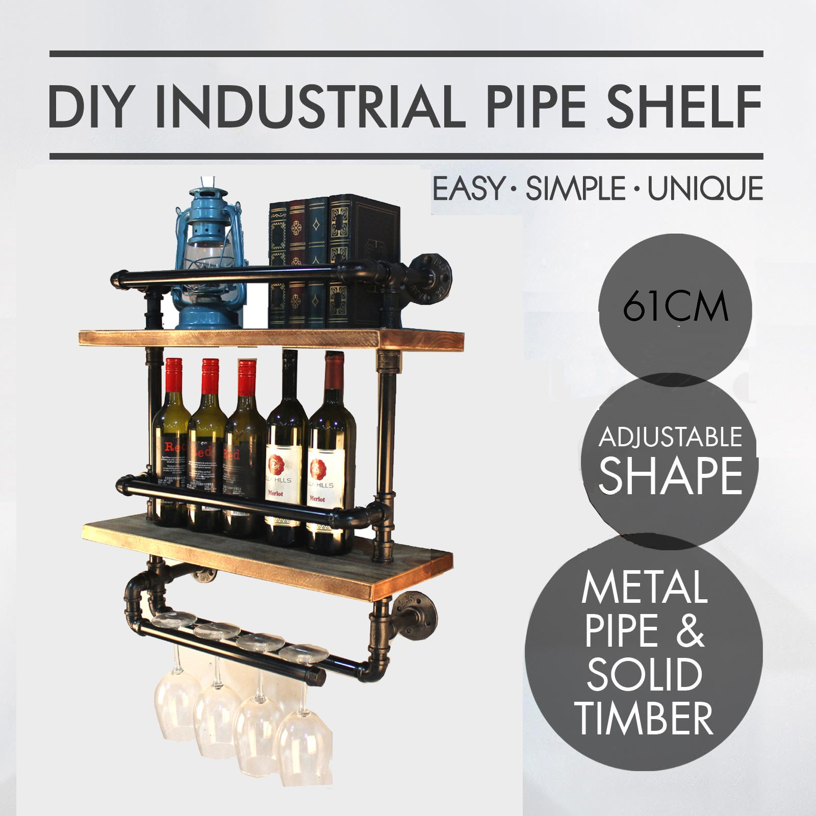 Industrial Pipe/Wood Two Tier Spice Rack Shelf Kitchen Fixture Shelving/wine rack