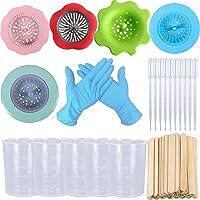 MeiMeiDa 75pcs Acrylic Pouring Art Supplies Kit - 5pcs Flower Acrylic Pouring Painting Strainers, 5pcs Plastic Cups, 50pcs Wood Stir Sticks, 5 Pairs of Latex Gloves, 10pcs Pipettes