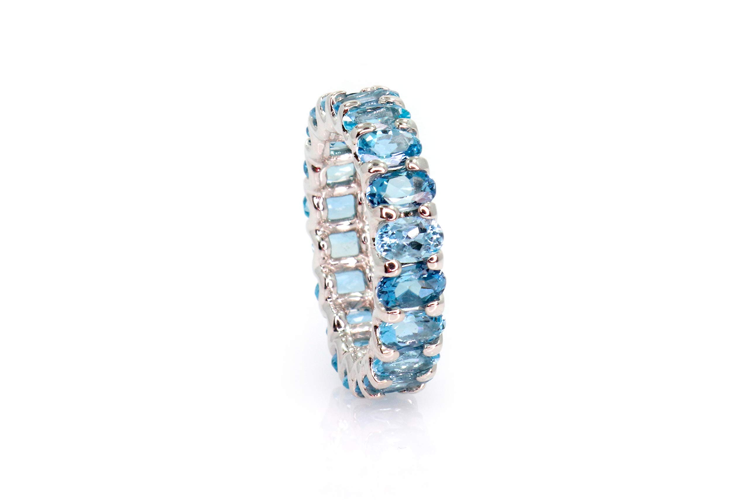 Albert Hern 4.02 Carat Natural Aquamarines 14kt Gold Eternity Ring for Women | Perfect for Weddings, Valentine's Day, Anniversary & Birthday Gift (White-Gold, 6)