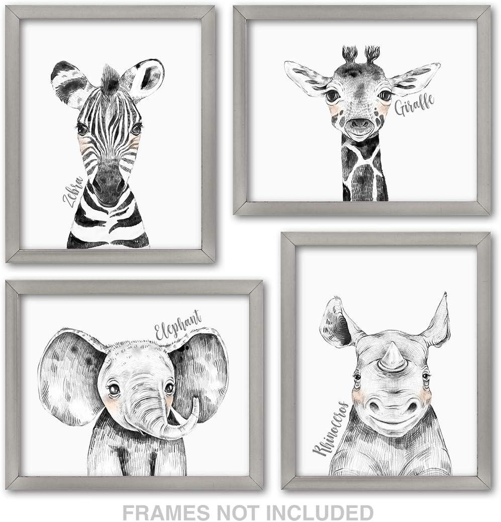 Confetti Fox Zoo Animals Safari Baby Nursery Wall Art Decor - 10x10 Unframed  Set of 10 Prints - Zebra Elephant Giraffe Rhino - Gender Neutral Boy Girl ...