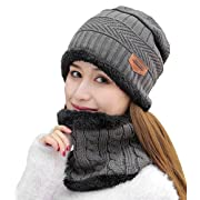 ae6eeb9411ea40 HINDAWI Womens Beanie Winter Hat Scarf Set Warm Snow Slouchy Knit Skull Cap  Grey