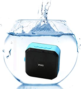 GANSS IPX7 Waterproof Shower Speaker,Mini Shower Portable Speakers with Micro SD Card Slot, Built-in Mic,Enhanced Bass, Works with iPhone, iPad, Samsung, Nexus, HTC, Laptops (Blue)