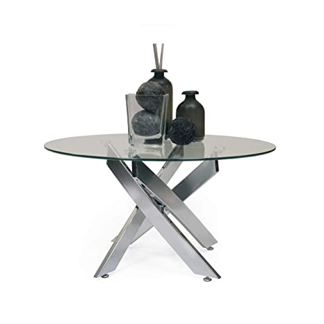 Homely - Mesa de Centro Redonda de Cristal Dalila Cristal Templado y pies de Acero de 80 cm
