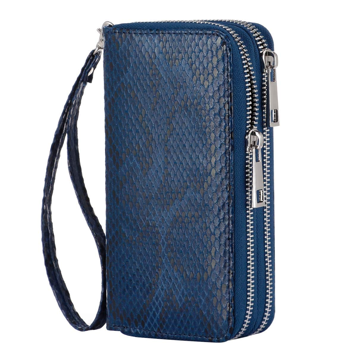 HAWEE Cellphone Wallet Dual Zipper Wristlet Purse with Credit Card Case/Coin Pouch/Smart Phone Pocket Soft Leather for Women or Lady, Indigo Blue-Soft Snakeskin Pattern by HAWEE