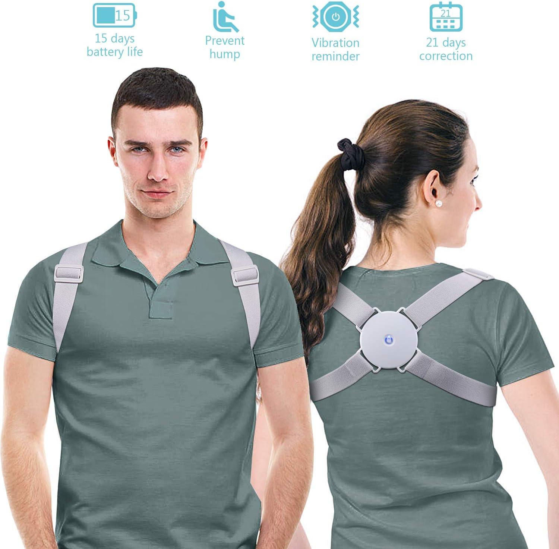 MeaMae Care Corrector de postura - Corrector de espalda inteligente con función de vibración para aliviar el dolor de espalda, pecho, cuello y hombro
