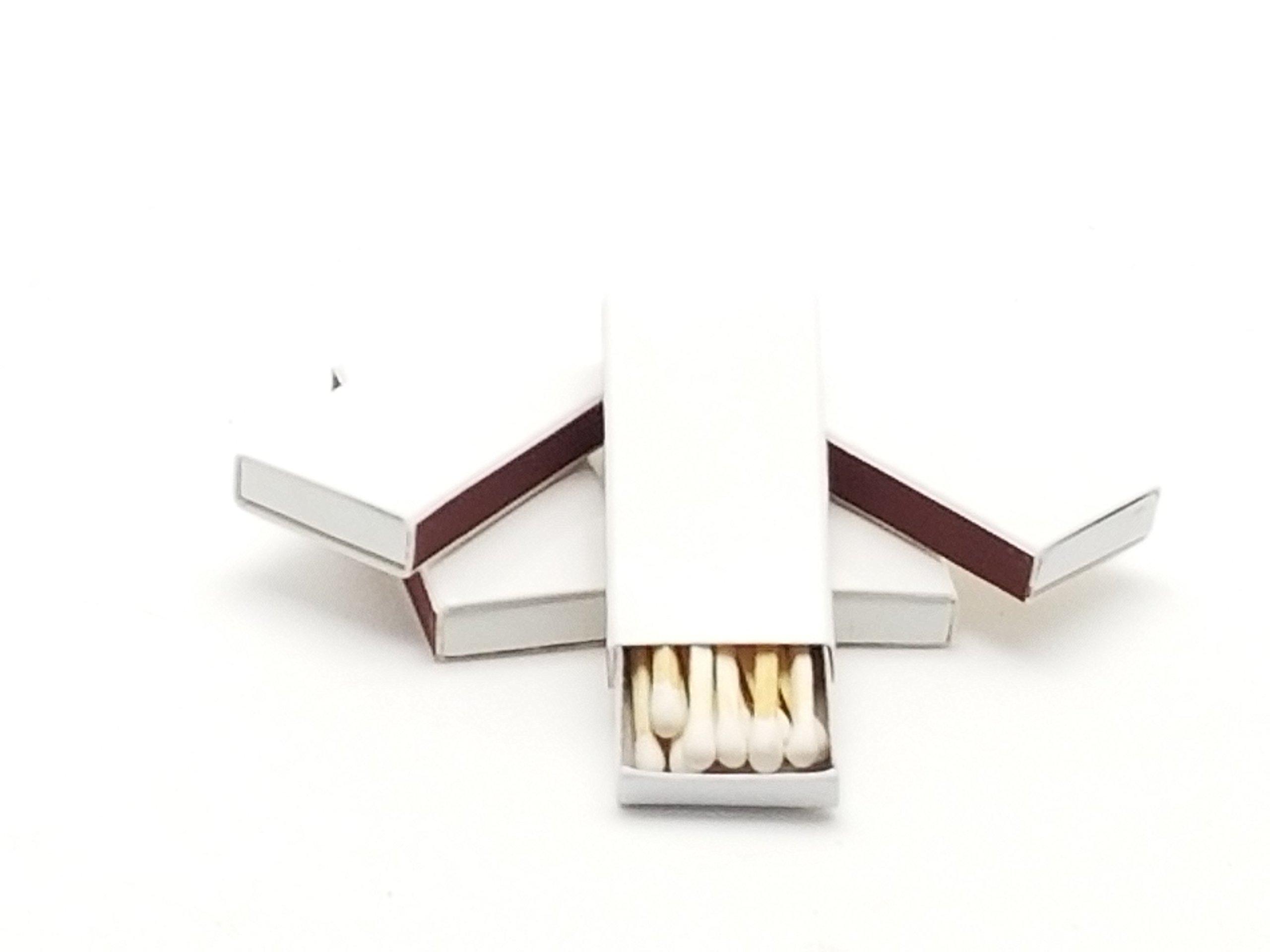 50 Miniature Plain White Cover Wooden Matches Box Matches