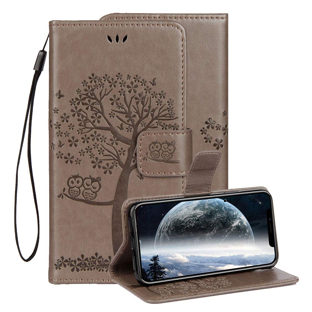Aearl iPhone XR Embossed Leather Case 6.1 inch 2018 With Screen Protector, Aearl Apple iPhone XR Embossed Owl Cat Flower Premium PU Leather Wallet Soft TPU Flip Cover Magnetic Card Slot Holder With Detachable Hand Strap-Gray