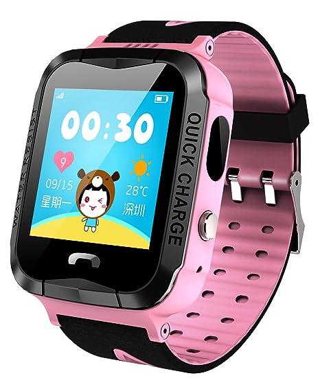 GPS Rastreador NIÑOS reloj inteligente anti-lost SOS impermeable al aire libre rosa relojes con linterna: Amazon.es: Relojes