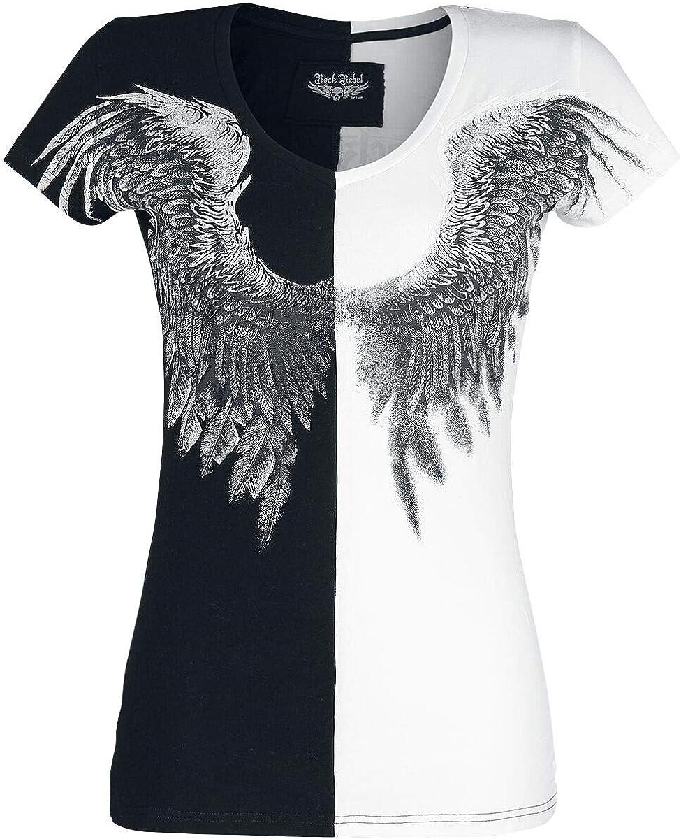 Rock Rebel by EMP Shades of Truth Mujer Camiseta Negro-Blanco, Regular: Amazon.es: Ropa y accesorios