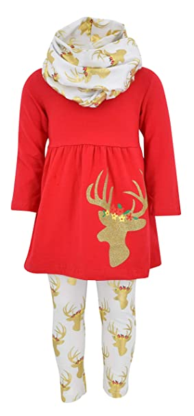 47ed52a828d4 Unique Baby Girls 3 Piece Christmas Winter Gold Reindeer Outfit (2T/XS, Gold