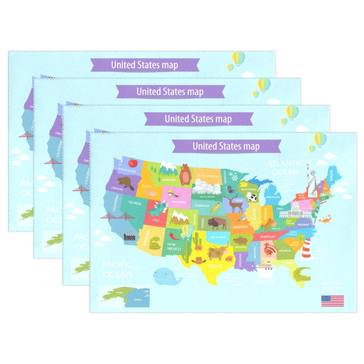 6pcs Map Of America Placemat - 12x18in - Washable Heat Crease Resistant Printed Place Mat for Kitchen Dinner Table by Top Carpenter