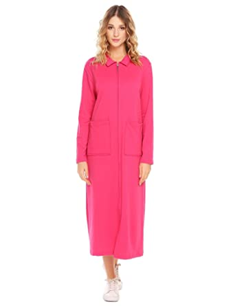 Vansop Sexy Women s Lightweight Long Sleeve Stretchy Line Hooded Sleepwear  Dress(Rose Red ... 313a66480