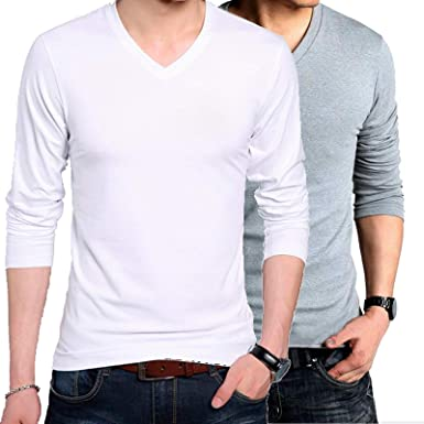 012cb5adf3f Wild Thunder Men Combo T Shirts - Full Sleeve V Neck Plain 100% Cotton T  Shirt - White and Grey or Gray Colour Combo Full Hand V Neck Cotton T Shirt   ...