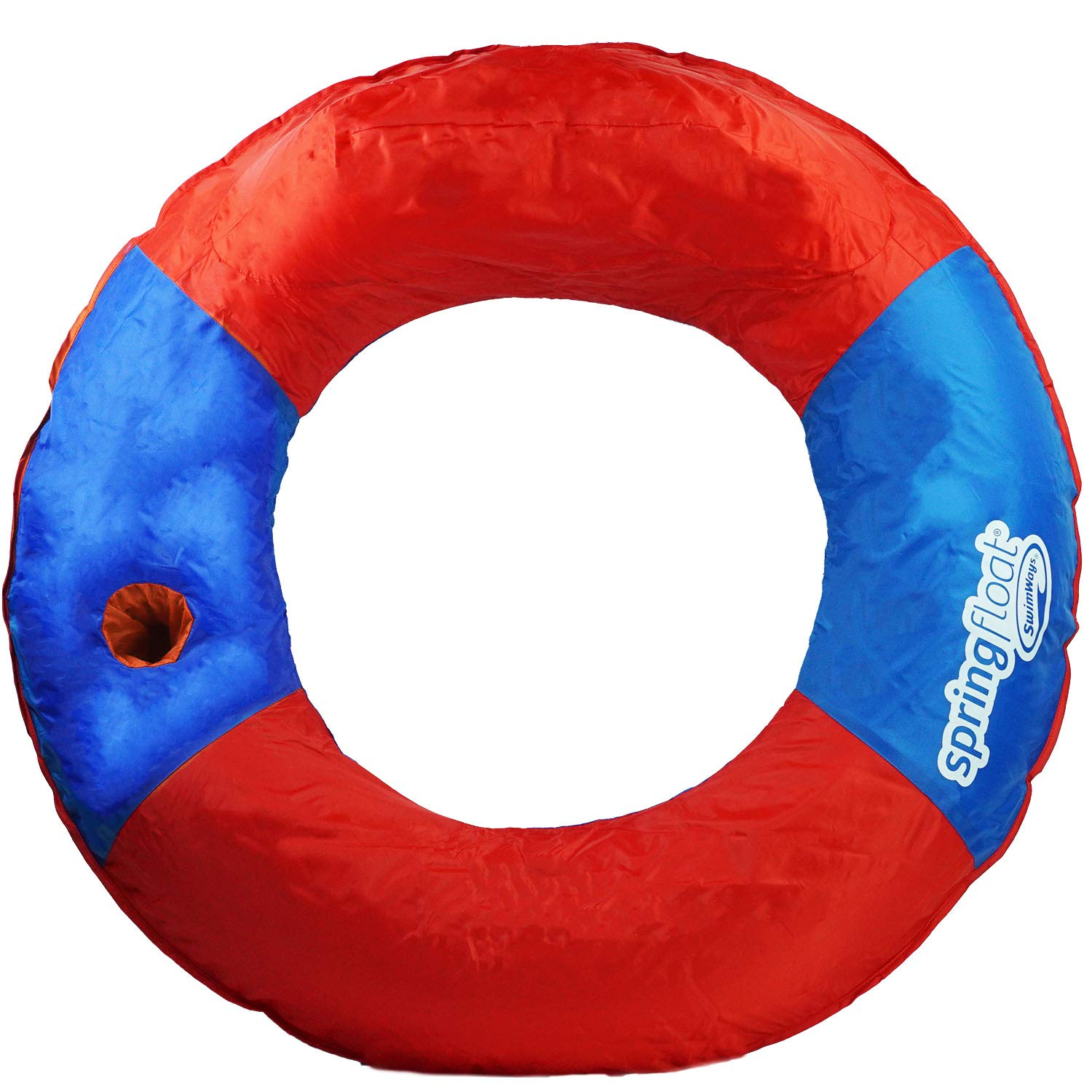 Swimway 36'' Red and Blue Swimming Pool Inflatable Sun Tube Lounger Spring Float with Cup Holder by Swimway