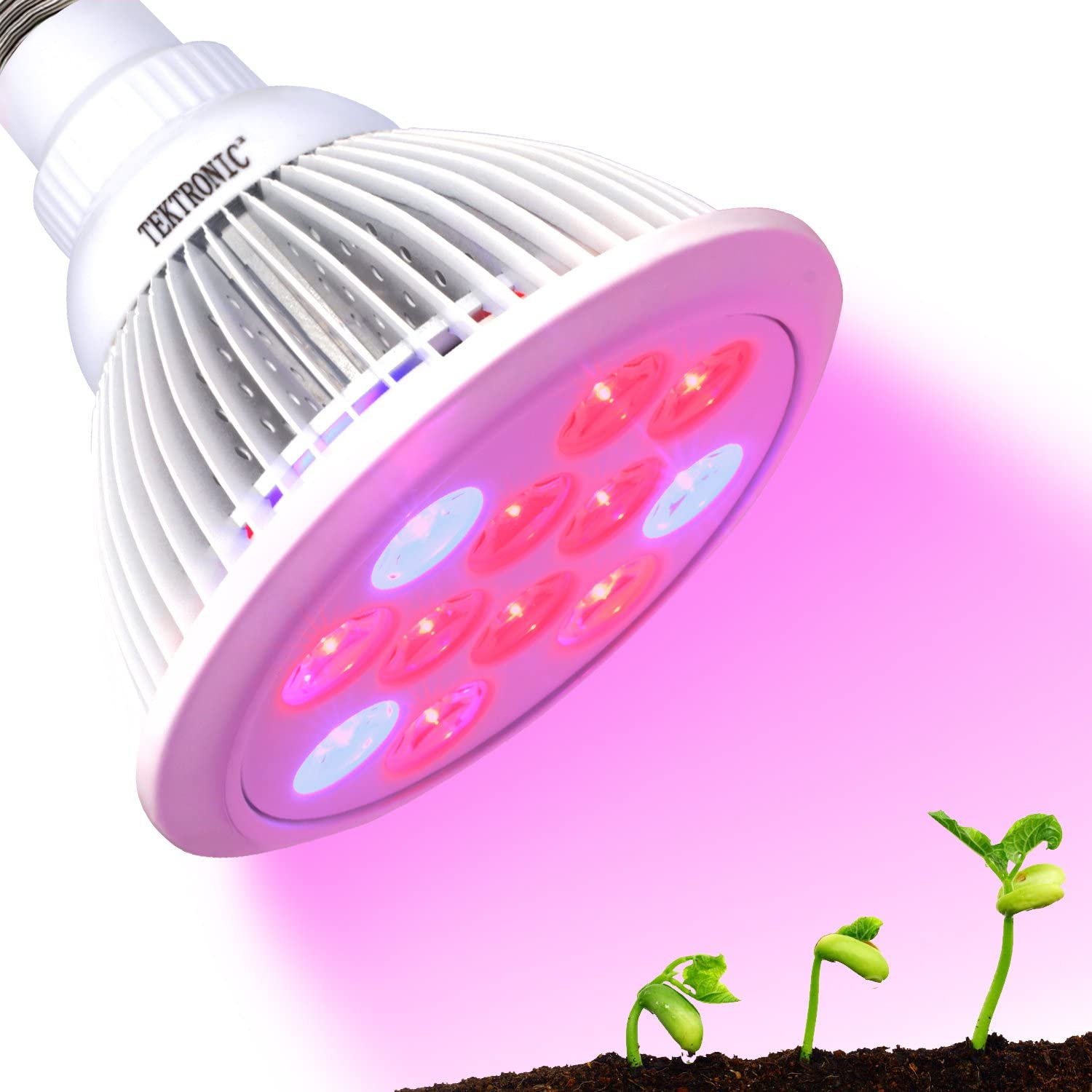 TekSky LED Grow Light Bulb 12W, Plant Grow Lamp for Indoor Hydroponics Greenhouse Organic E27 12W 3 Bands