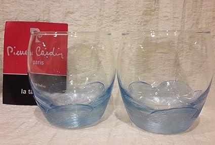 Pierre Cardin Juego De 6 Vasos Periódico Agua decoro azul olas océano