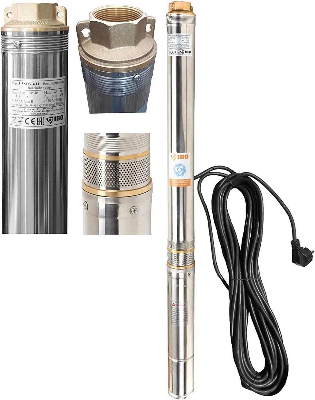 102mm Tiefbrunnenpumpe Brunnenpumpe Edelstahl 2600 l//h 0,75 kW Rohrpumpe