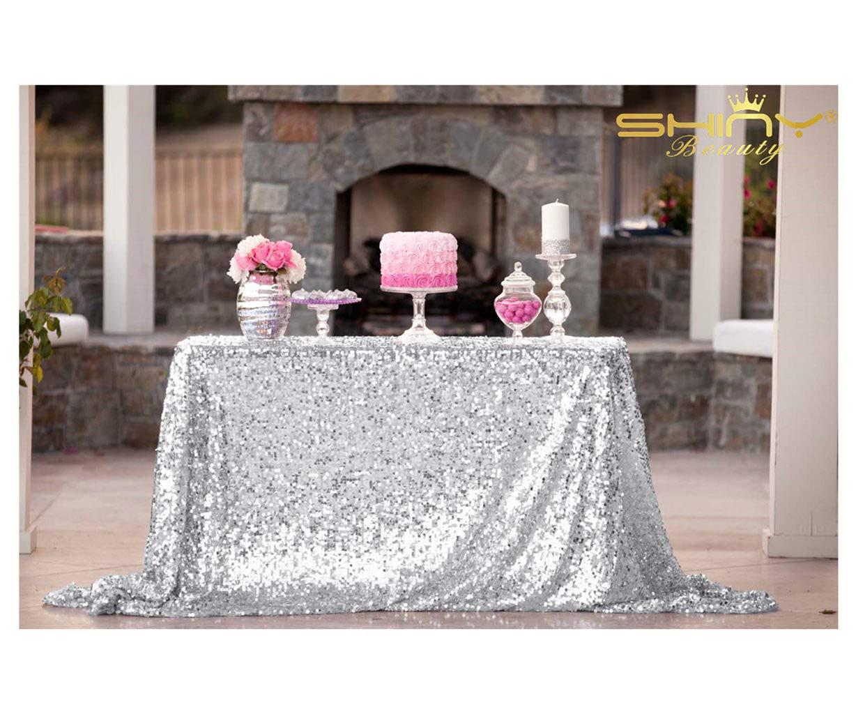 ShiDianYi 50''x72''Silver Sequin Tablecloth, Wedding Table Cloth, Sparkle Sequin Linens, Glitz, Sequin Cake Tablecloth, Sequin Tablecloth (50''x72'') by ShiDianYi