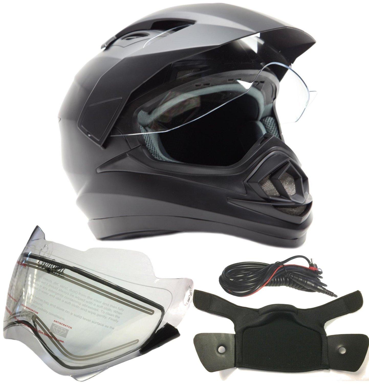 Dual Sport Snocross Snowmobile Helmet w/ Electric Heated Shield - Matte Black - XL by Typhoon Helmets (Image #9)