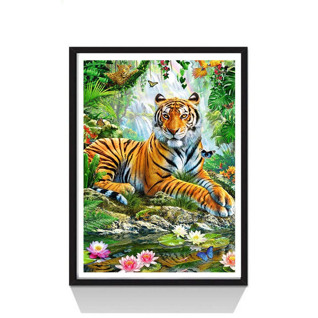 wuayi 5D Diamond Painting Kits Full Drill, Cat Tiger Owl 30x40cm/11.81''x15.74''