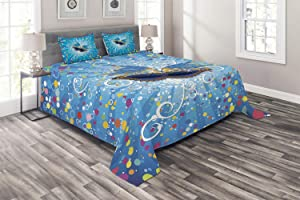 Ambesonne Mardi Gras Coverlet, Party Backdrop Colorful Dots Spots and Carnival Swirls, 3 Piece Decorative Quilted Bedspread Set with 2 Pillow Shams, Queen Size, Blue Orange