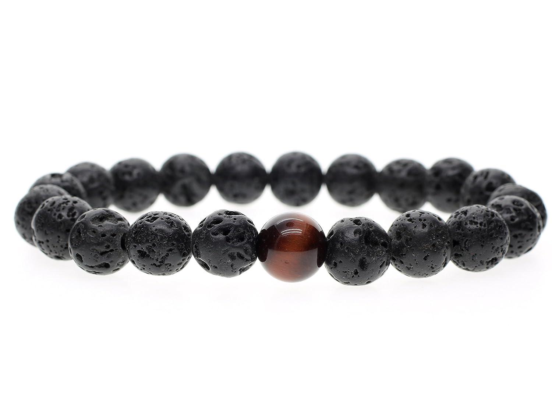 AmorWing Mens Womens Healing Lava Tiger Eye Mala Beads Prayer Stone Bracelet 10mm N389-2