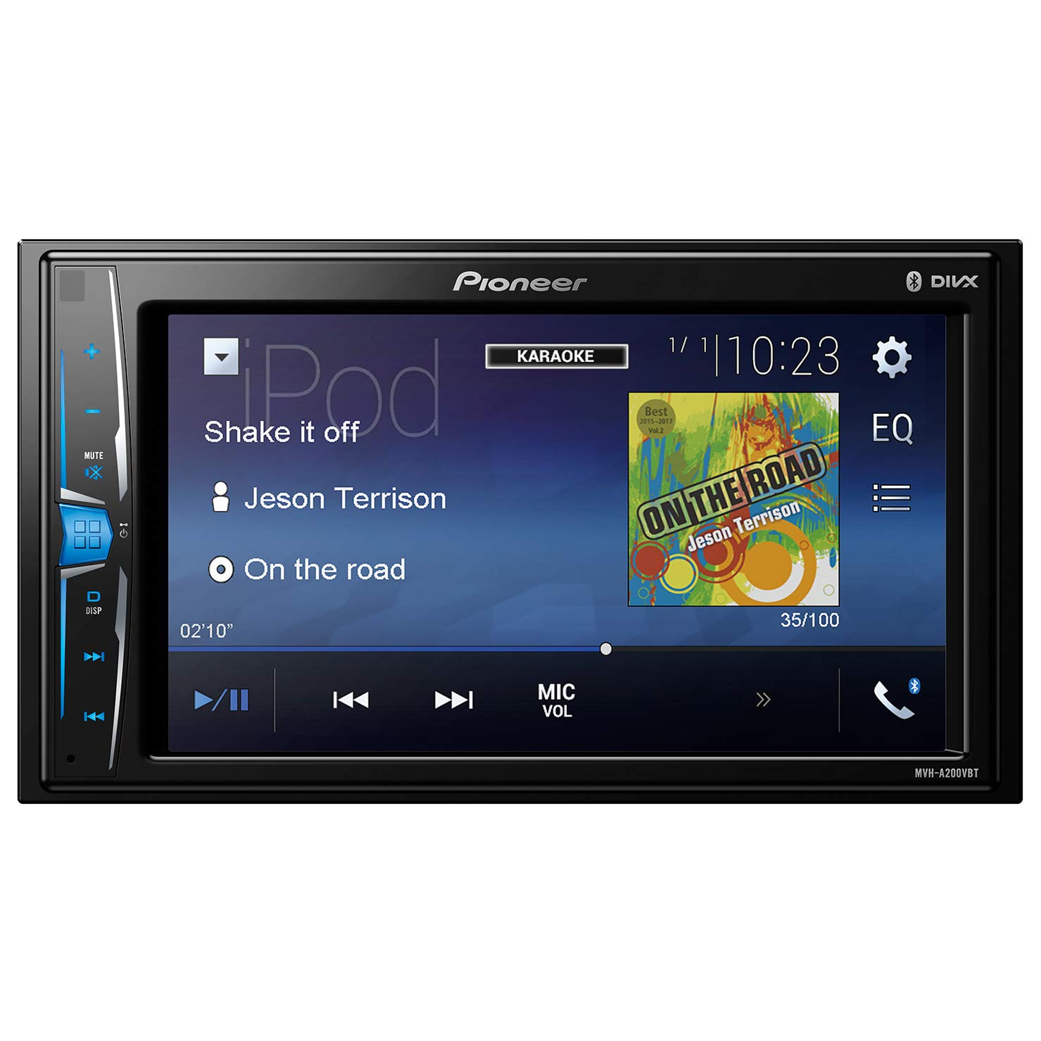 Pioneer MVH-A200VBT 2DIN Autoradio 15,7 cm (6,2 Zoll) Media Receiver fü r Audio Video USB, Clear-Resistive-Touchscreen Schwarz
