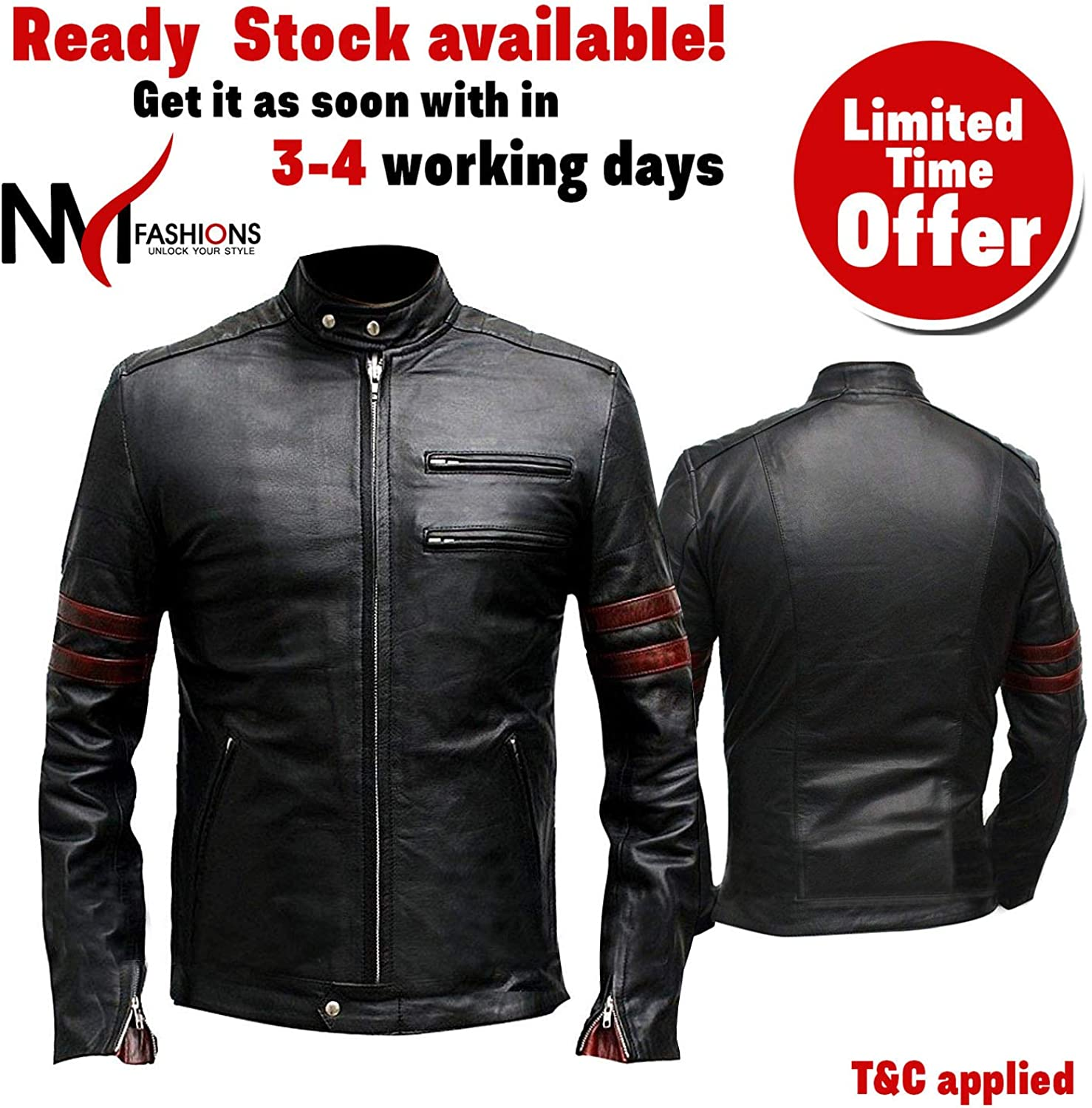 Mens Fight Hybrid Black Retro Mayhem Real Leather Club Jacket
